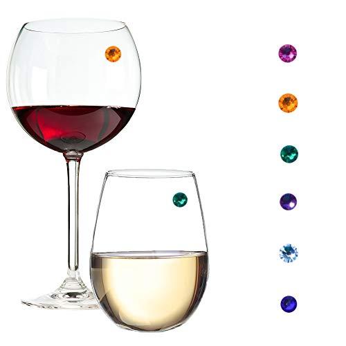 Swarovski Kristall Magnet Weinglas Charms für Stiellose Gläser, Sektgläser & mehr - Set mit 6 Juwel Farben