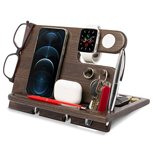 Holz Telefon Dockingstation Asche Baum Geldbörsenständer Schlüsselhalter & Uhren Organisator Herren Geschenk Ehemann Geburtstag Gadgets Kompatibel mit iPhone iWatch AirPods