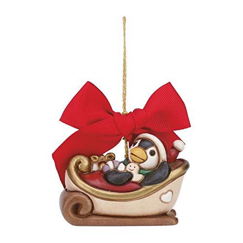 THUN  - Addobbo per Albero di Natale Slitta Piccola - Ceramica - L 7 cm - Linea I Classici