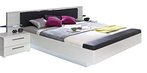 Bettgestell Doppelbett | 180 x 200 cm | Weiß Hochglanz | inkl. LED-Beleuchtung