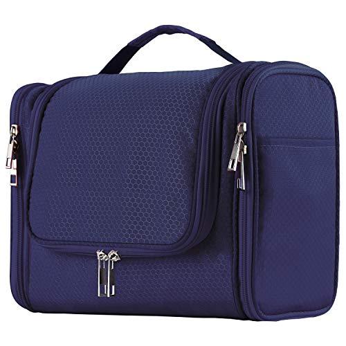 Extra Large Capacity Hanging Toiletry Bag for Men & Women, Portable Waterproof Bathroom Shower Bag, Lightweight Dopp kit Shaving Bag, Sturdy Metal Hook Organizer Makeup Bag (Blue)