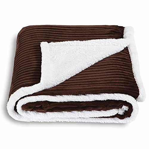 SOCHOW Sherpa Fleece Throw Blanket, Super Soft Fluffy Warm Stripe Plush Blanket for Sofa Couch Bed 60 x 80 Inches, Brown