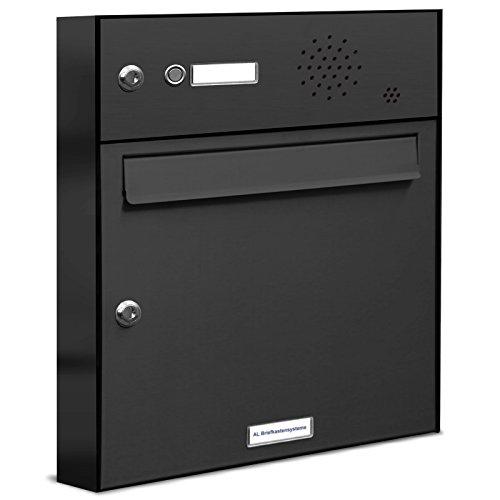 AL Briefkastensysteme 1er Briefkasten in Anthrazitgrau RAL 7016 mit Klingel, 1 Fach Briefkastenanlage Aufputz modern Postkasten