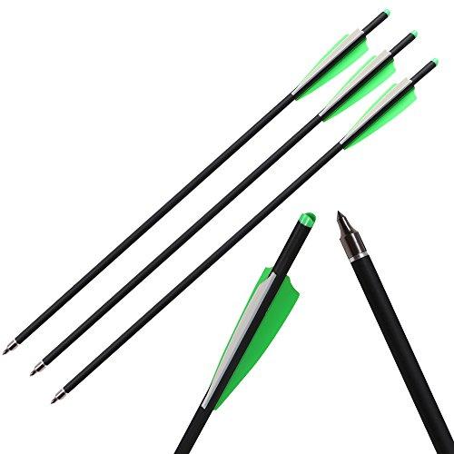 IRQ 12pcs 22 Zoll Armbrustpfeile, Jagdpfeile mit Ersatz-Einschraubspitze, Armbrustbolzen für Armbrust, Carbonpfeile für Bogenschießen ø 8,8 mm