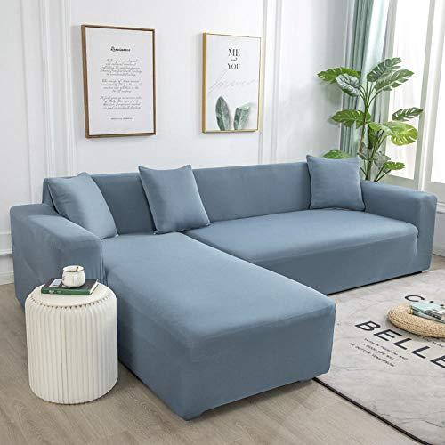 sofaüberzug l Form eckcouch Sofa Überzug Hussen Überzug Couch Cover Muster Couchbezug Couch Antirutsch Graublauer einfarbiger Milchseidenstoff Kommt mit 3 Kissenbezug
