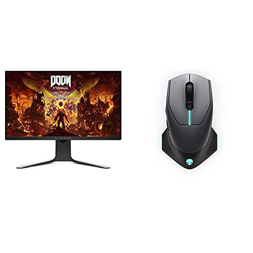 Alienware New AW2720HF 27 Inch FHD IPS LED Edgelight 2019 Monitor & Wired/Wireless Gaming Mouse AW610M: 16000 DPI Optical Sensor - 350 Hour Battery Life - 7 Buttons - 3-Zone Alienfx RGB Lighting