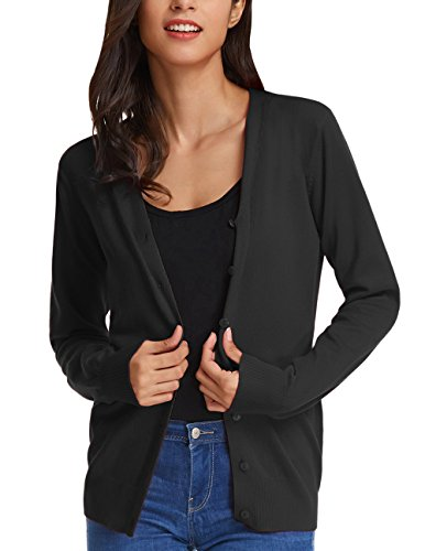 GRACE KARIN Women's Long Sleeve Button Down Vee Neck Classic Sweater Knit Cardigan