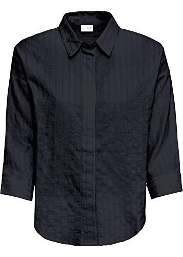 bonprix Oversize- Bluse mit Knopfleiste und 3/4-Arm schwarz 40 für Damen