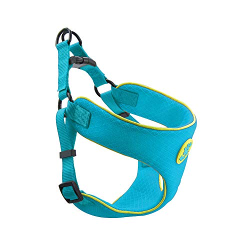 DOCO Athletica Runner Mesh Dog Harness - No Pull, Easy Step-in Reflective, Custom Comfort Hugging Chest Plate (Turquoise, Medium)