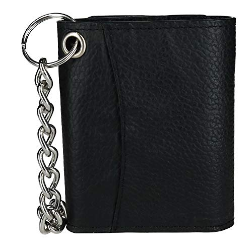 CTM Men's Pebble Grain Leather RFID Trifold Chain Wallet, Black