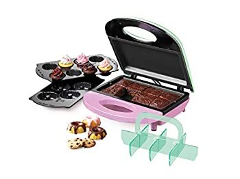 Nostalgia BBE4 4-in-1 Bakery Bites Express Makes Mini Brownies Cupcakes Cakes and Cookies Green/Pink