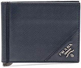 (プラダ) PRADA マネークリップ 二つ折り札入れ レザー ネイビー 2MN077 中古