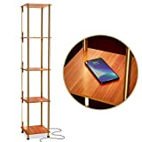 Brightech Aria Metal Shelf Floor Lamp w. Wireless Charging Station - Narrow Nightstand - LED Column Light for Bedrooms, Offices & Living Rooms - Gold / Brass