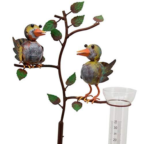 Pommerntraum ® | Regenmesser - Niederschlagsmesser - Pluviometer - in Rostoptik - verliebtes Vogelpaar - tolle Gartendekoration!