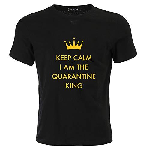 Fuyamp Keep Calm I Am The Quarantine Queen / King T-Shirt Geburtstag Social Distance 2020 Selbstisolation für Männer Frauen M Schwarz für Herren