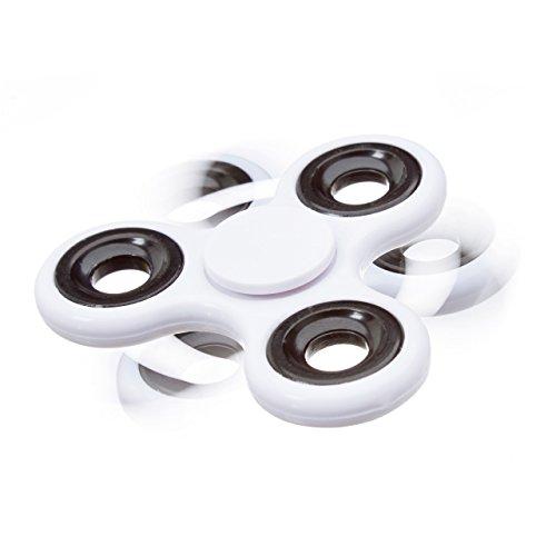 Relaxdays Fidget Spinner Tri-Bar, 58 g Finger Spinner mit Hochleistungskugellager, coole Tricks und Entspannung, weiß