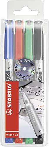 Marcatore - STABILO Write-4-all - Tratto Superfine (0,4 mm) - Astuccio da 4 - Colori assortiti