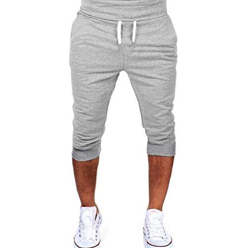 Pantalones 3/4 Hombre Verano 2019 Nuevo SHOBDW Tallas Grandes Pack Pantalones Cortos Hombre Cordón Elástico Cómodo Suelto Bolsillos Casual Pantalones Hombre Deporte(Gris 2,XXL)