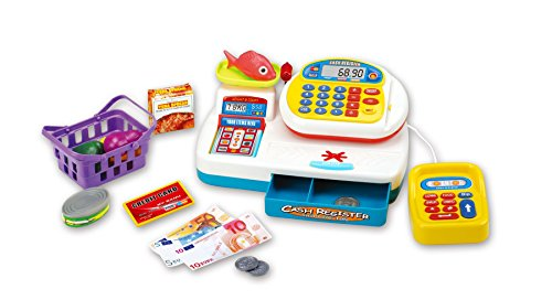 Vinsani Caja registradora de supermercado para niños y niños, con lector de tarjetas de pago