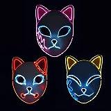 Tioeng Demon Slayer Mask LED Halloween Mask Japanese Anime Demon Slayer (3pc)