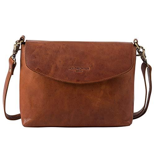 HOLZRICHTER Berlin Umhängetasche (M) - Elegante Vintage Handtasche & Schultertasche Aus Leder, Damen & Herren - Cognac-Braun