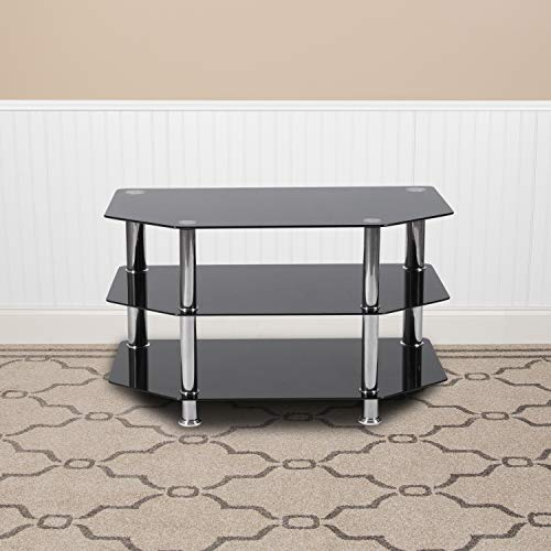 Flash Furniture North Beach Black Glass TV Stand with Stainless Steel Metal Frame