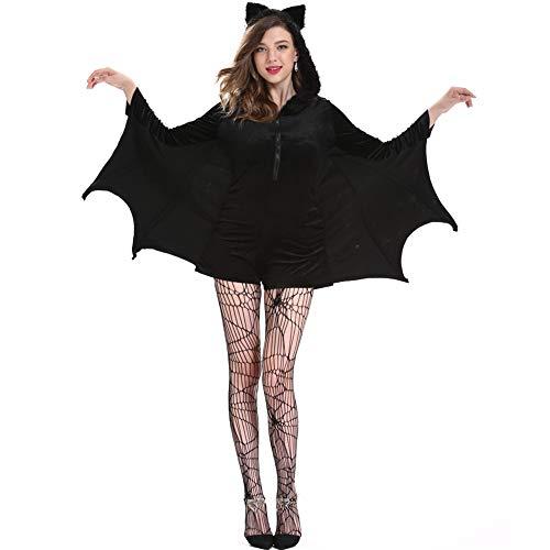 ZHANGY Kinder Erwachsene schwarz böse Vampir Fledermaus Kleidung Catsuit Mädchen Frauen Vampir Kleidung Kinder Teufel Halloween Kostüm Cosplay Kostüm,Schwarz,XXL