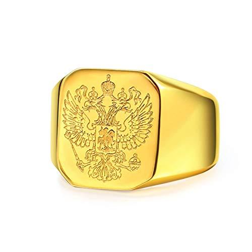 Bishilin Gold Ringe Herren Gothic, Ring Adler Hochglanzpoliert Siegelring Quadrat Partnerringe Männer Ring Größe 60 (19.1)