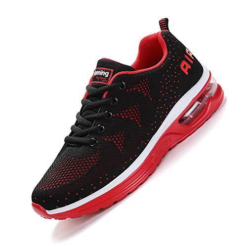 smarten Sportschuhe,Herren Damen Laufschuhe mit Luftpolster Turnschuhe Profilsohle Sneakers Air Leichte Schuhe Red 42
