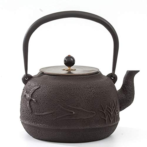 Q-HL Japanische Teekannen gusseisen Teekessel Kaff Gusseisen Teekanne Tetsubin Tee-Kessel Japanische Gusseisen Teekanne Uncoated Waage Wasserkocher 1400ml