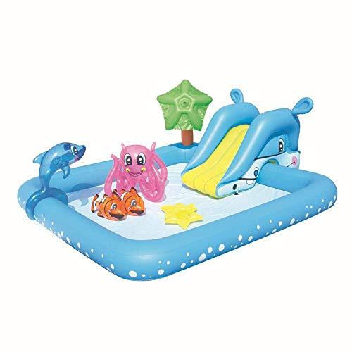 Turtle Story Piscina inflable, cojín de juguetes del agua del centro de juego, piscina inflable del bebé para el patio al aire libre JXNB