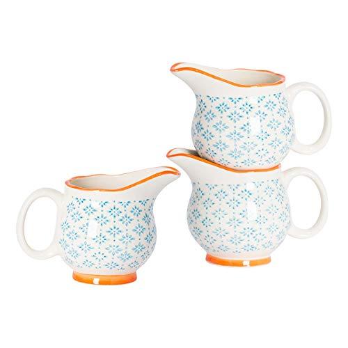 Nicola Spring Pot à Lait/à sauces/à crème à crème à Motifs en Porcelaine - Bleu/Orange - 300 ML x6