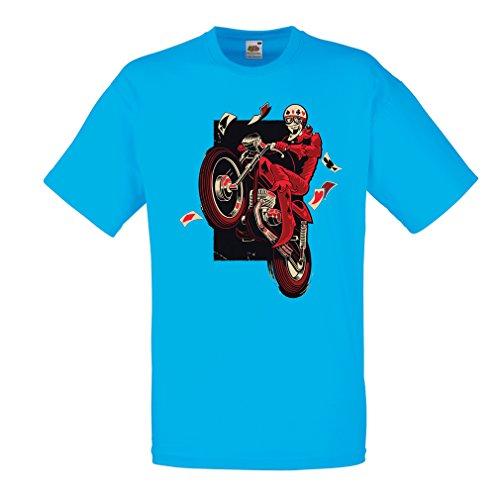 lepni.me Camisetas Hombre Motociclista - Ropa de Motocicleta, Ropa Retro (X-Large Azul Multicolor)
