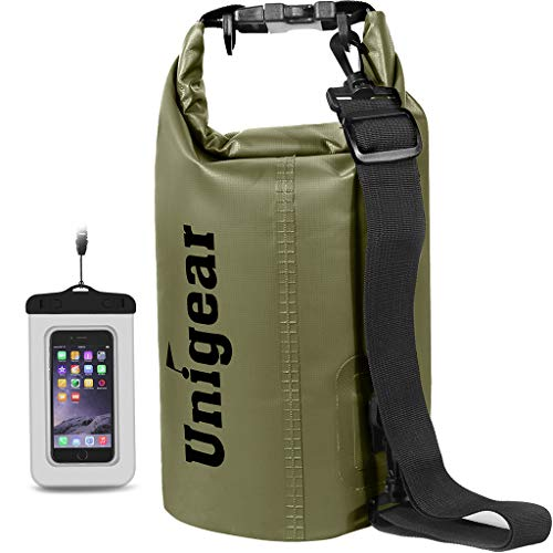 Unigear Dry Bag 2L/5L/10L/20L/30L/40L Waterproof Dry Sack Roll Top with Phone Case and Long Adjustable Shoulder Strap for Boating/Kayaking/Fishing/Rafting/Swimming/Camping/Snowboarding