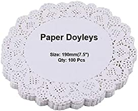 EleWa Round Doily Paper Mats/Lace Doilies/Doyley Paper, Cake Decoration Liner - 100 Pcs (Off-White, 7.5 Inch)