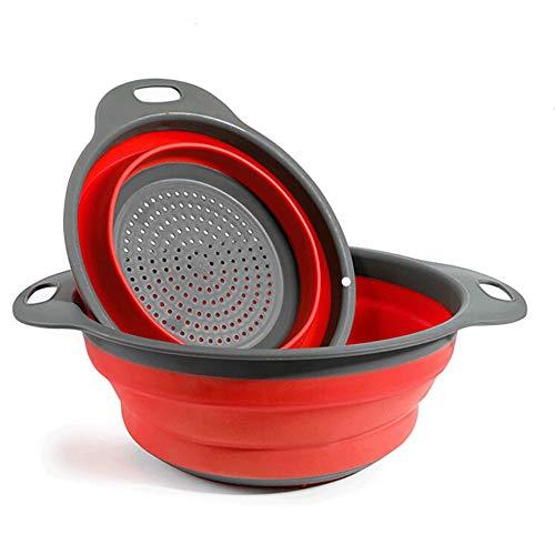BILIEASY Coladores Cocina, Cocina Plegable Colador de Silicona, Respetuosos del Medio Ambiente no Tóxico Fácil de Limpiar 2 Tamaños Escurridores