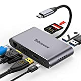 USB C to VGA Adapter Hub, 8-in-1 USB C Adapter with 4K HDMI, VGA, USB 3.0, 87W PD, Ethernet, SD/Micro SD Slot, Compatible with USB C MacBook Pro/Air/iPad Pro 2018/Dell XPS/Galaxy S8 and More