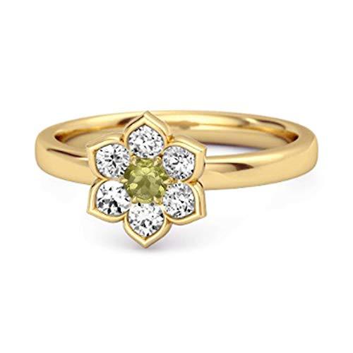 Shine Jewel Multi Elija su Piedra Preciosa Flor de Margarita 0.02 CTS Anillo de Plata de Ley 925 Chapado en Oro Amarillo (12, Peridoto)