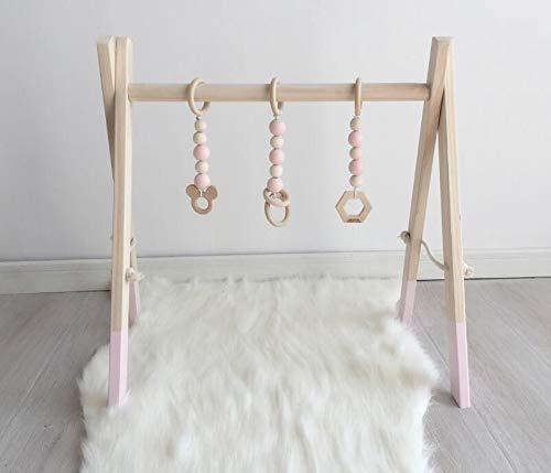 Marbeine Holz Baby Gym, Holz Aktivität Spiel Baby Gym Spielzeug fur Babyzimmer Dekoration mit 3PCS Anhänger(Zufälliger Stil) (pink)