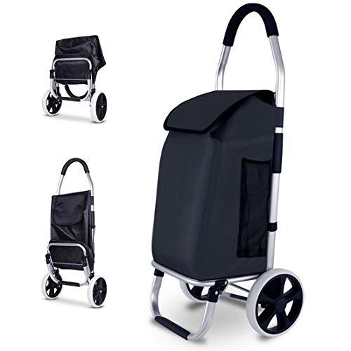 FLM Einkaufstrolley mit Großen Rädern 25 cm und 45 Liter Einkaufswagen mit Abnehmbarer Tasche,Schwarz