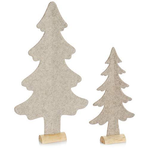 com-four® 2X Expositor Decorativo para Navidad - Árbol de Navidad de Fieltro con Base de Madera Maciza - Árbol de Navidad como decoración o Regalo (02 Piezas de Abeto 41cm 61cm Beige)