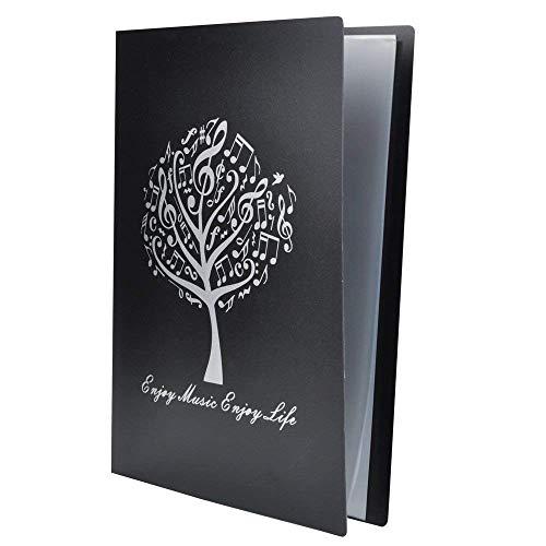 Notenmappe A4 Größe Blatt Notenmappe Papier Dokumente Musik Thematik 40 Taschen Aufbewahrungsmappe Music Note Tree -Black