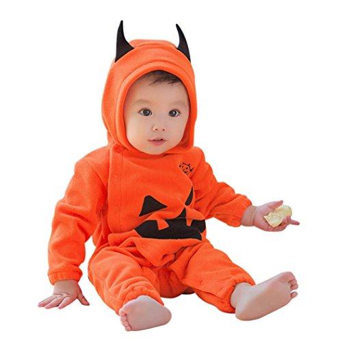 IMJONO Garçons Barboteuse, Bébé Filles Halloween Citrouille Mignon Combinaison Infantile à Capuche Costume de vêtements (0-3 Mois, Jaune)