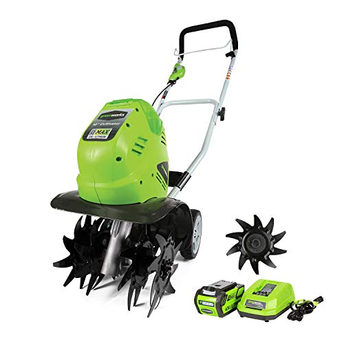 Review Of Greenworks 10-Inch 40V Cordless Cultivator with Extra Tines, 4Ah Battery and Charger Inclu...