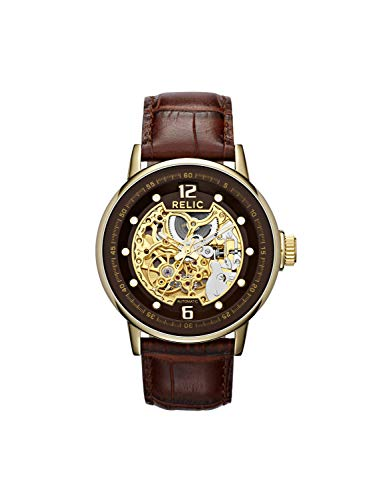 Relic by Fossil Men's Damon Automatic Stainless Steel and Leather Dress Watch, Color: Gold, Brown (Model: ZR77241)