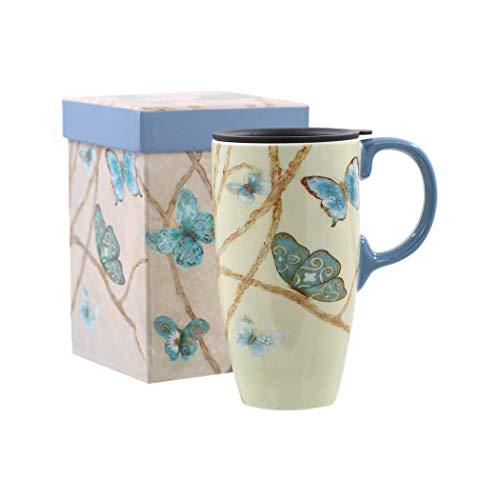 Topadorn Coffee Ceramic Mug Porcelain Latte Tea Cup With Lid 17oz., Blue Butterfly