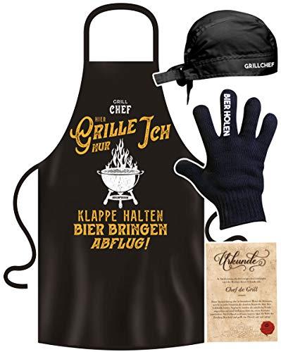 SO-GmbH Geschenk-Idee für Männer lustige Grillschürze im Grillset : Grill Chef Hier Grille Nur Ich BBQ Schürze für den Grill-Chef Mann