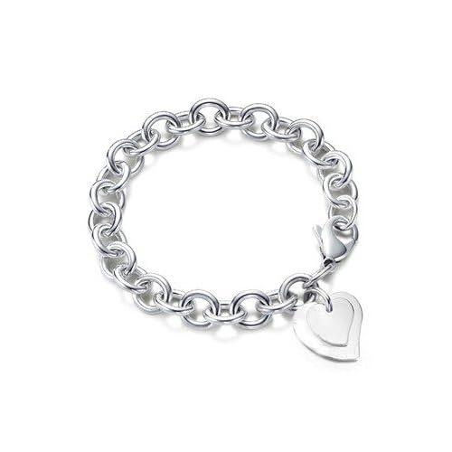6e2ce0d44 Designer Inspired Double Heart Charm Pendant Bracelet Sterling Silver 925  Plated Lobster Clasp 20cm