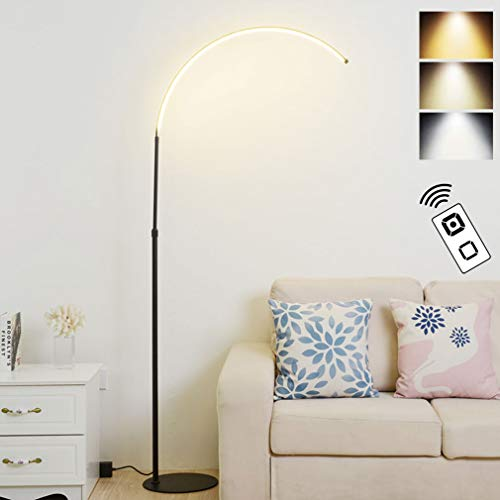 MYALQ Bogenlampe Stufenlos Dimmbar Stehleuchte mit 3 Farbtemperaturen mit Fernbedienung Schwenkbar Stehlampe Höhenverstellbar 150-180cm, für Wohnzimmer Schlafzimmer Arbeitszimmer Büro,Schwarz