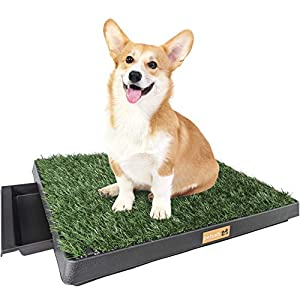 """Petush Dog Grass Pad with Tray – Grass Pee Pads for Dogs with Tray – Puppy Potty Training Grass – Indoor and Outdoor Use – Small and Medium Dogs 25""""×20"""" – Improved Drainage – Turf Holding Clips"""